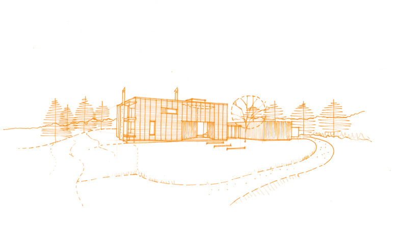 exterior sketch of architectural house