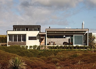 exterior perspective of architectural beach house