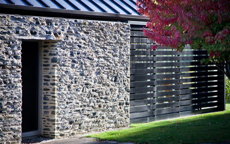 stone and timber cladding architecture