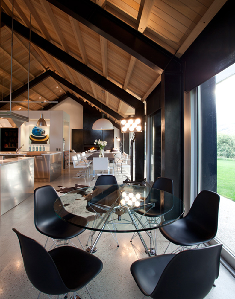 modern dining with timber exposed ceiling