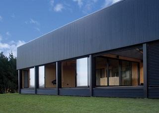 black corrugated cladding house